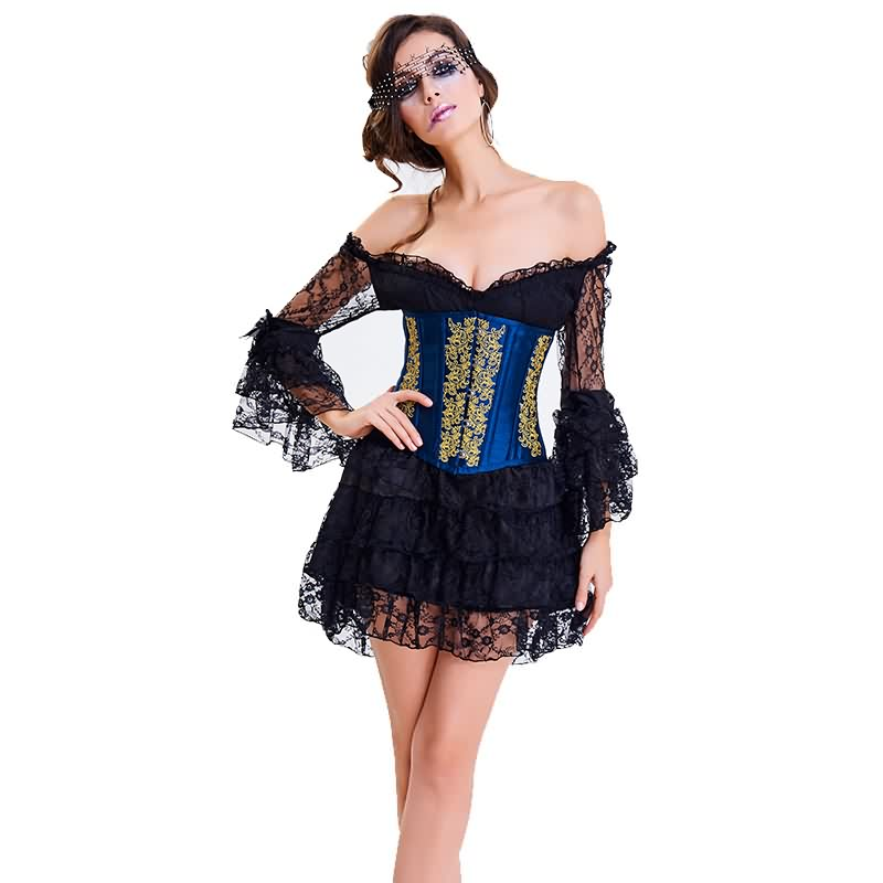 Black and Blue Embroidery No Bandage Slimming Corset