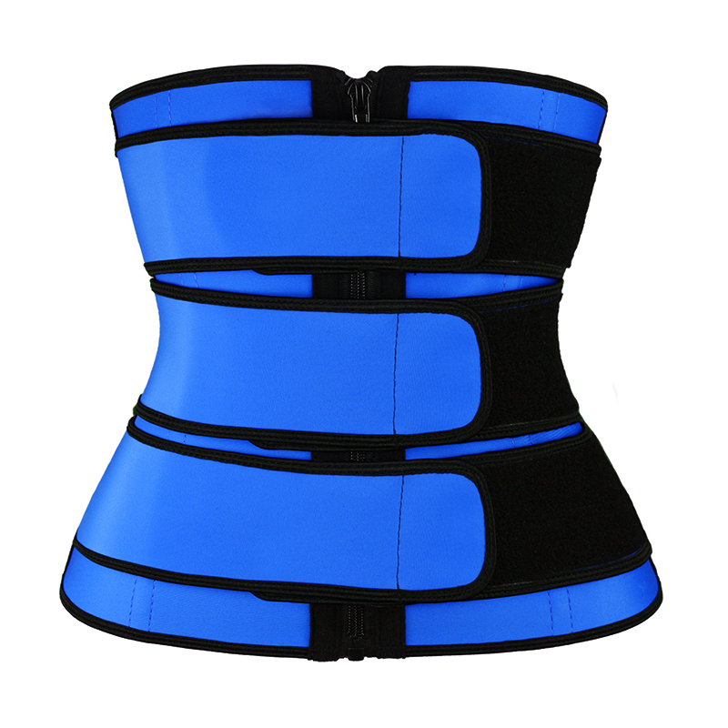 Blue Latex YKK Zipper 3 Belts Waist Trainer