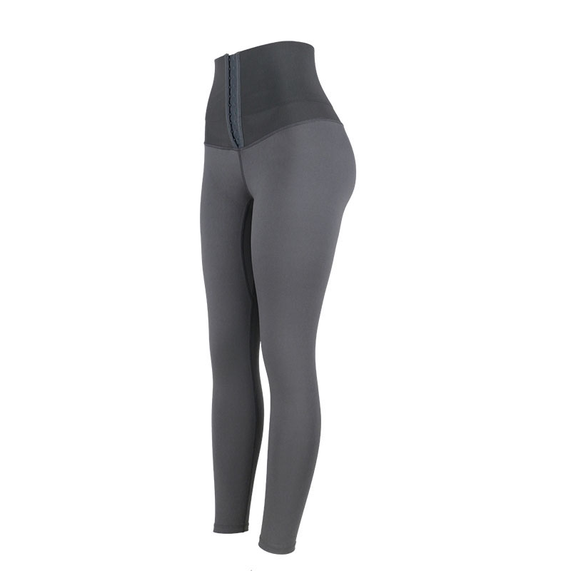 The left of gray high waist trainer shapewear shaping pants