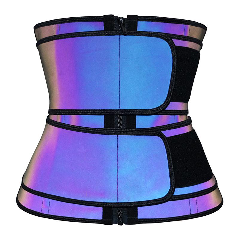 Fluorescent Blue Double Belt Waist Trainer With Zipper