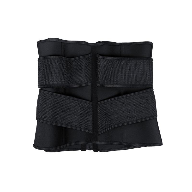 the back of black Double Slide Buckle Waist Trainer Belt
