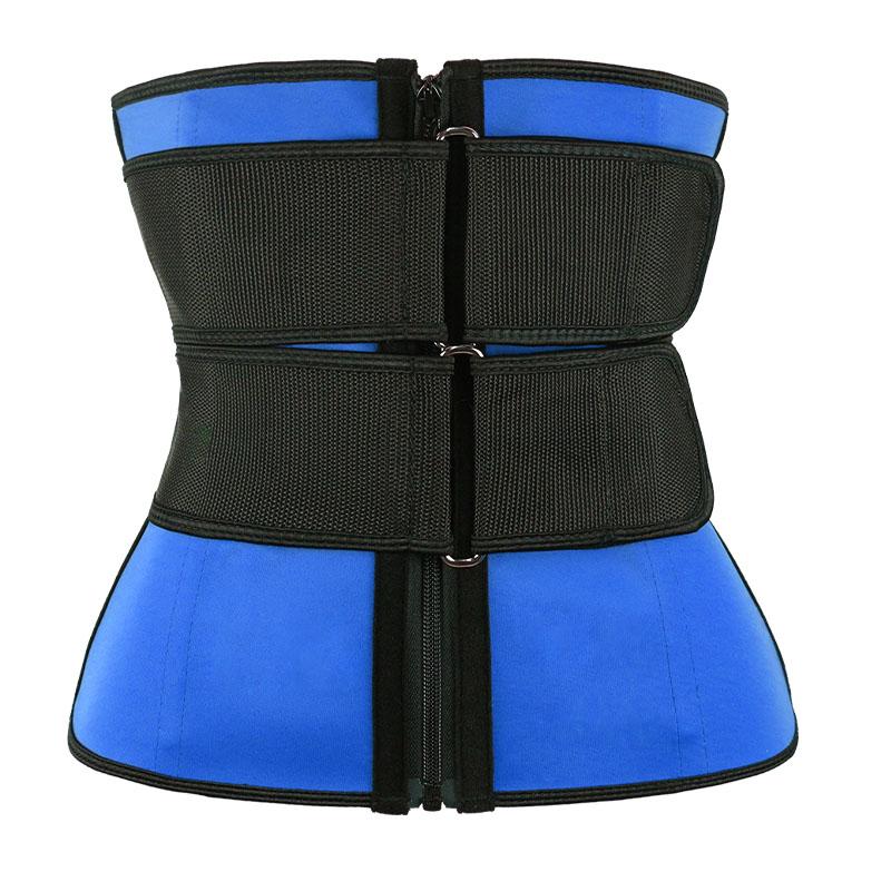 blue Double Slide Buckle Waist Trainer Belt