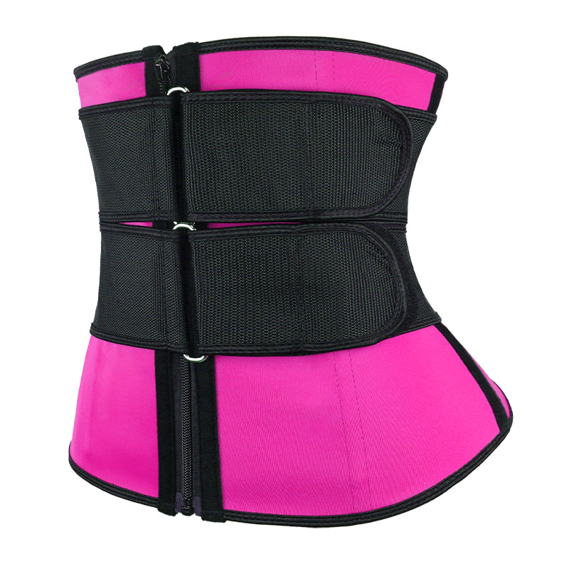 the left of pink Double Slide Buckle Waist Trainer Belt