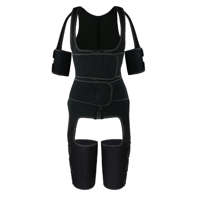 The front of black OK Fabric Double Belt Waist Trainer Vest Full Body Shaper