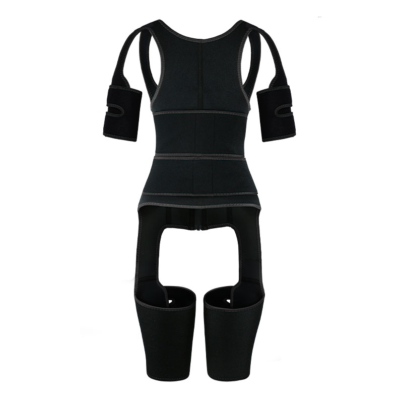 the back of black OK Fabric Double Belt Waist Trainer Vest Full Body Shaper