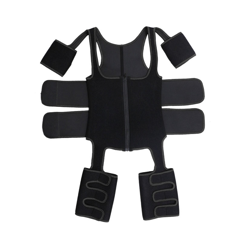 black OK Fabric Double Belt Waist Trainer Vest Full Body Shaper