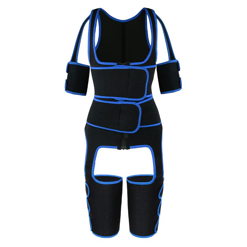 blue oK fabric double belt waist trainer vest full body shaper
