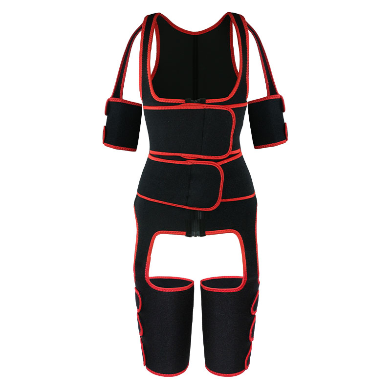 the front of red oK fabric double belt waist trainer vest full body shaper
