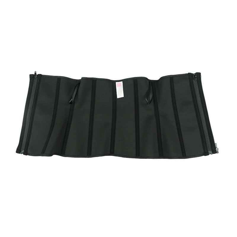 The inside of black waist trainer with detachable zipper strip