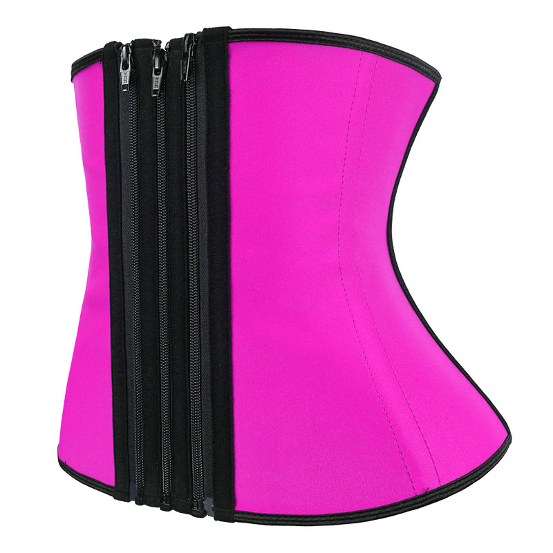 The left of pink waist trainer with detachable zipper strip