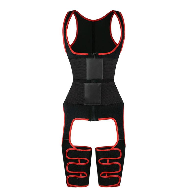 Red elastic double belt full body waist trainer