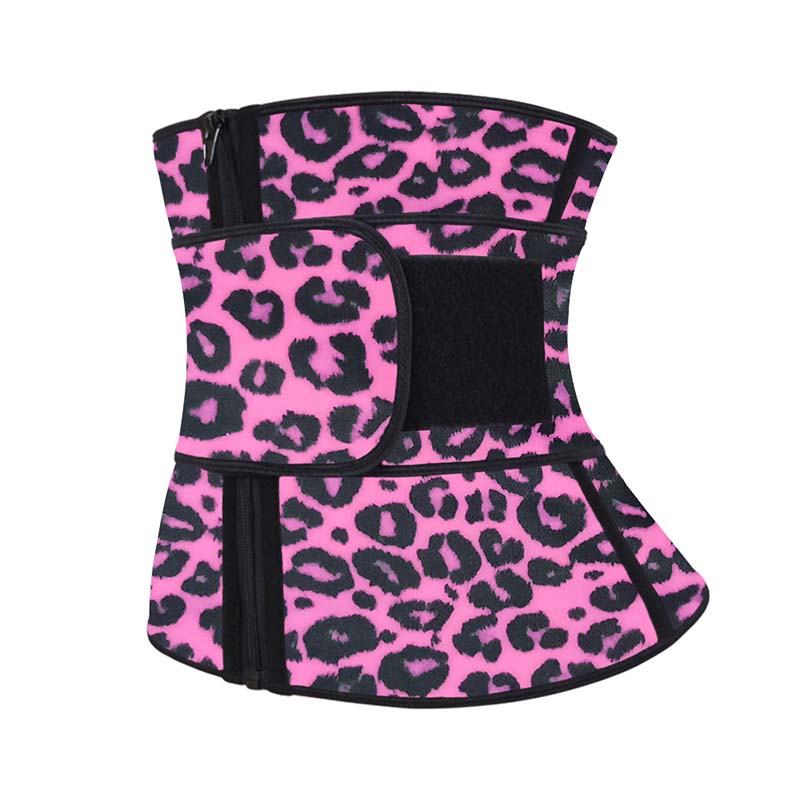 The left of pink leopard print YKK zipper waist trainer with belt
