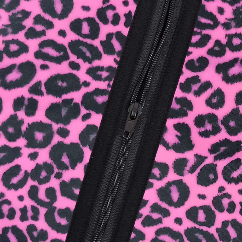 The zipper of pink leopard print YKK zipper waist trainer with belt