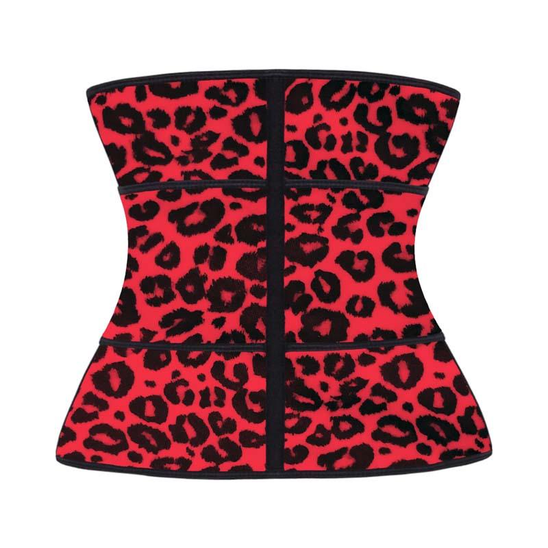 The back of red leopard print YKK zipper waist trainer with belt