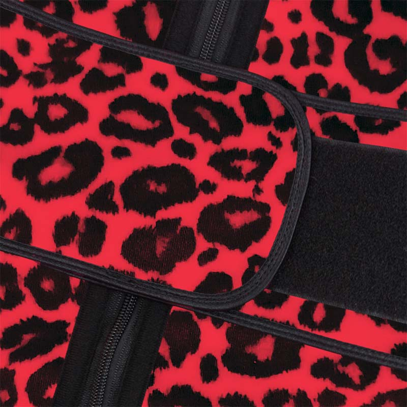 The velcro of red leopard print YKK zipper waist trainer with belt
