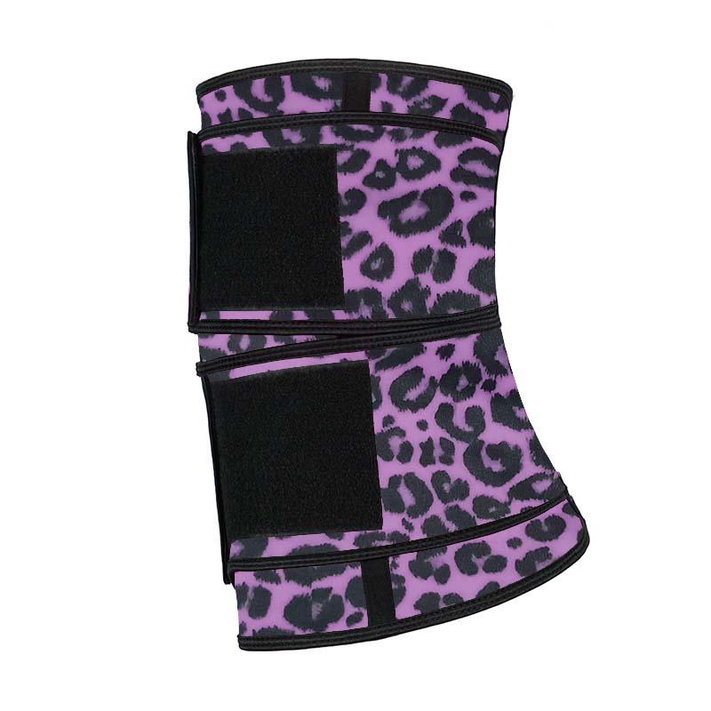 The left of purple leopard print double belt waist trainer with logo