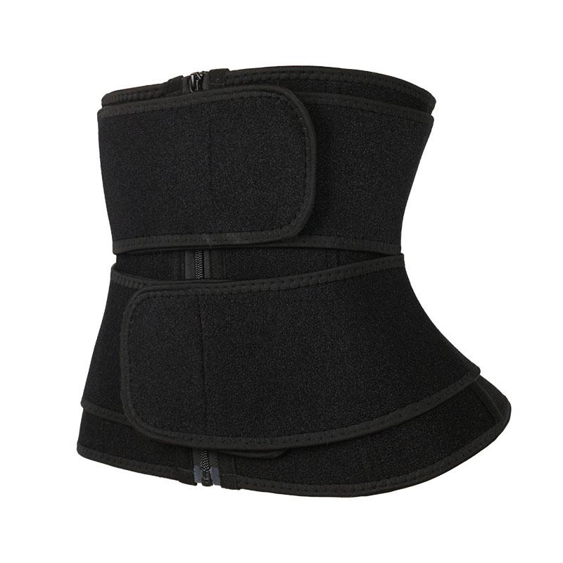 The left of 9 steel boned double belt waist trainer wholesale