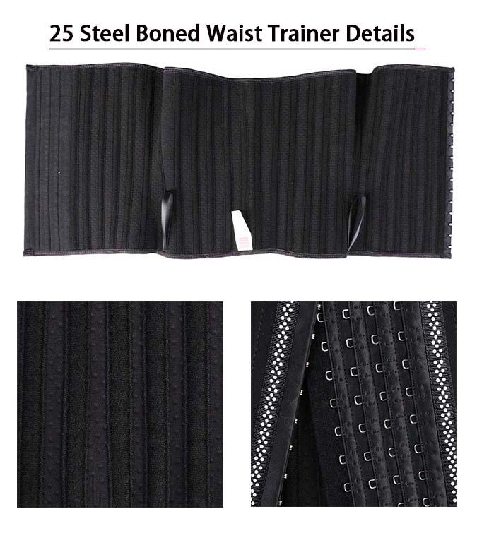 The details of 4 Rows Hook Tourmaline 25 Steel Boned Waist Trainer Wholesale