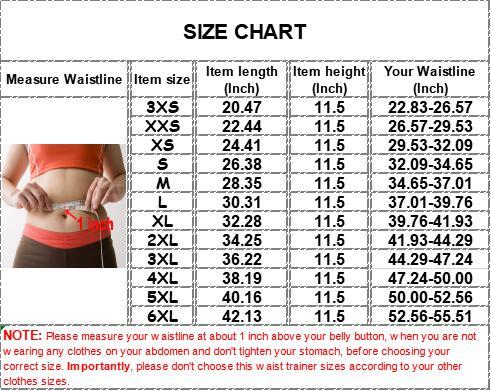 The size chart of 9 steel bone pulley neoprene 3 belt waist trainer with zipper