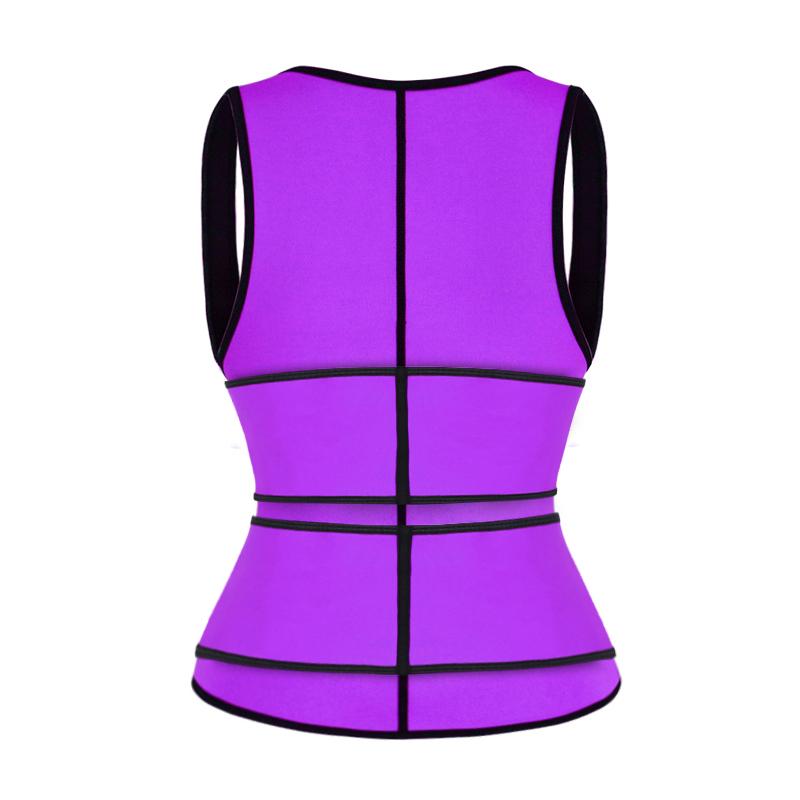 The back of puple double strap waist trainer vest wholesale
