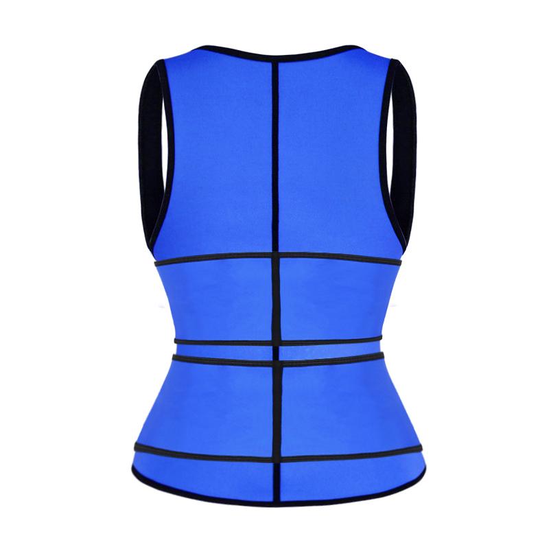 The back of blue double strap waist trainer vest wholesale