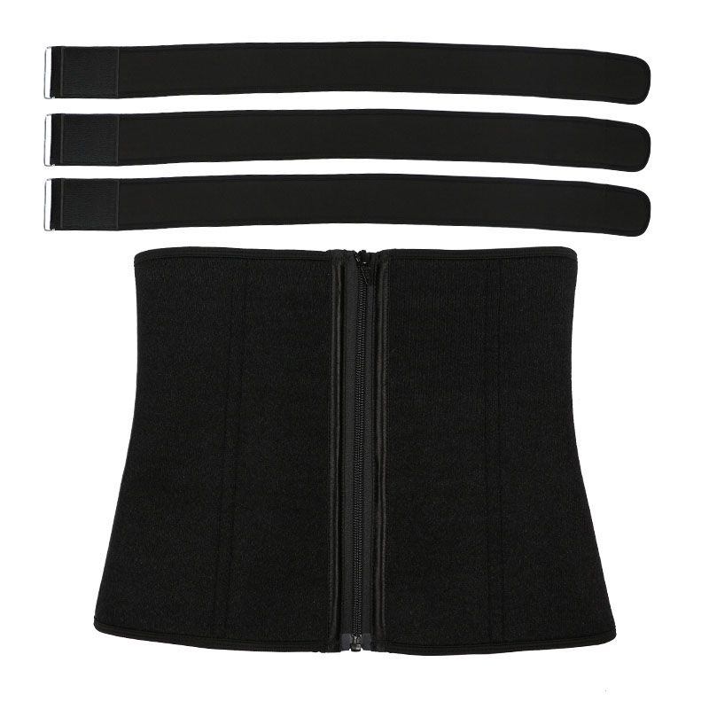 The back of 3 belt waist trainer with zipper