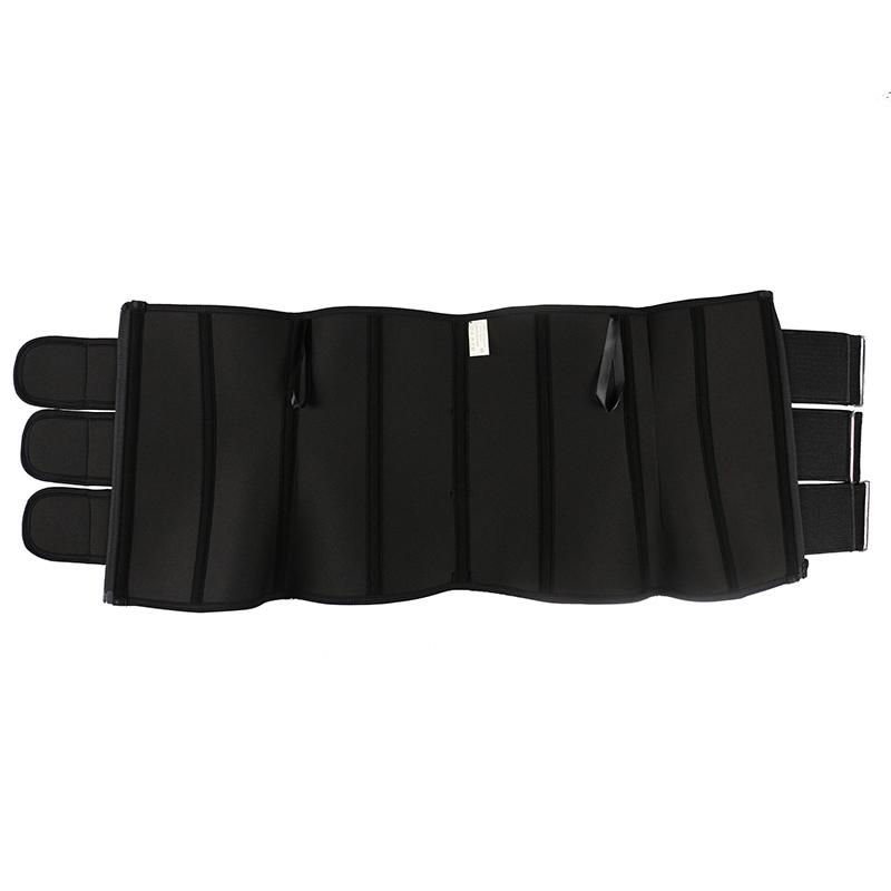 The inside of 9 steel bone pulley neoprene 3 belt waist trainer with zipper