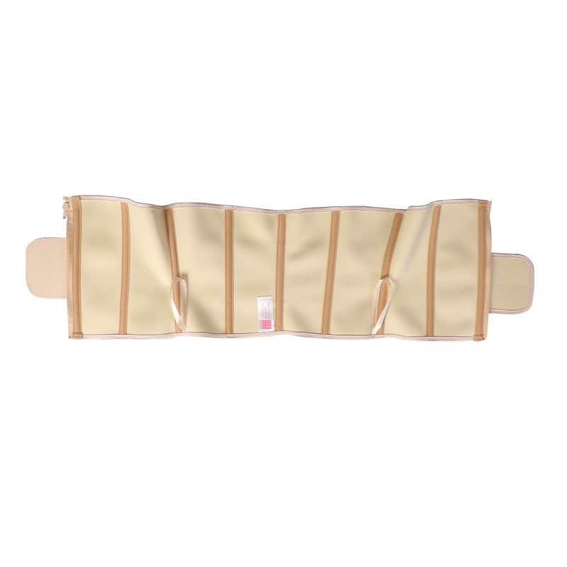 The inside of short torso waist trainer 9 steel bone latex waist belt