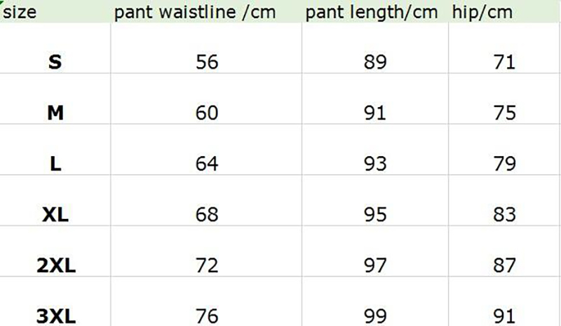 The size chart of Neoprene Front Long And Back Short Corset + Milk Silk Pants