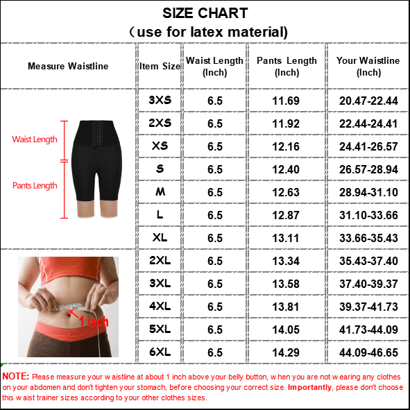 The size chart of Three-layer Latex 6.5-inch Waist Trainer Without Steel Bones