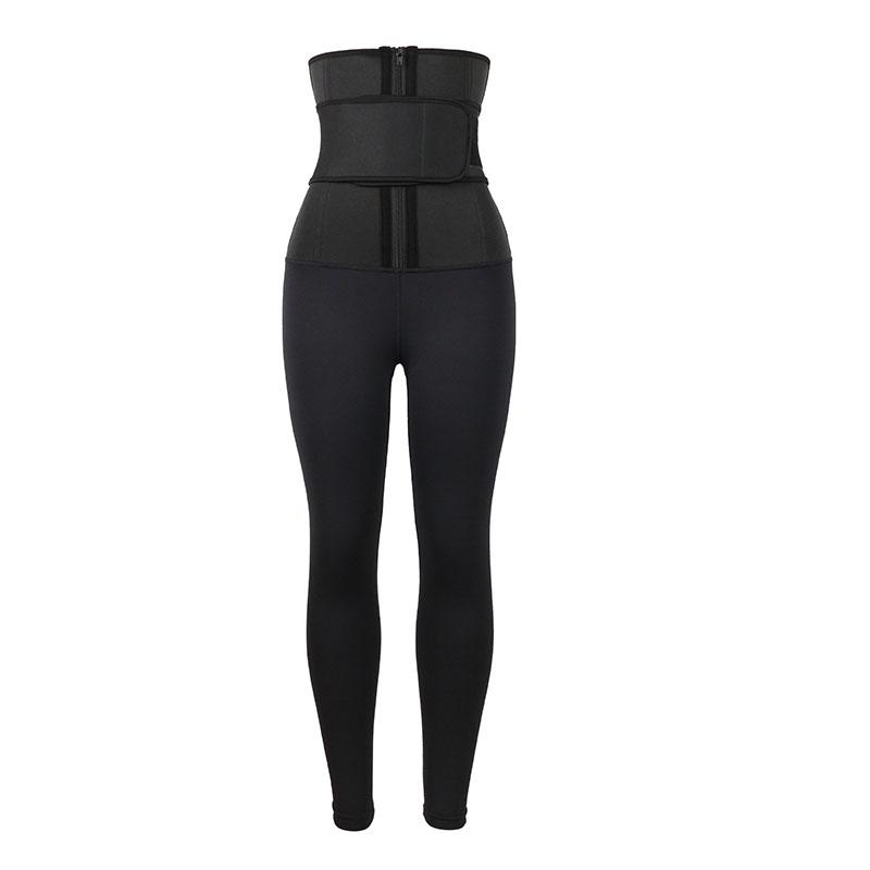 Black Single Belt Women's Body Shaper Pants