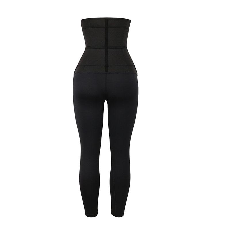 the back of Custom High Waist Shaper Pants With Double Belt