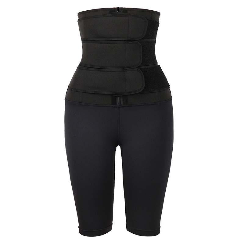 Black Three Belt Neoprene Waist Trainer With Pants