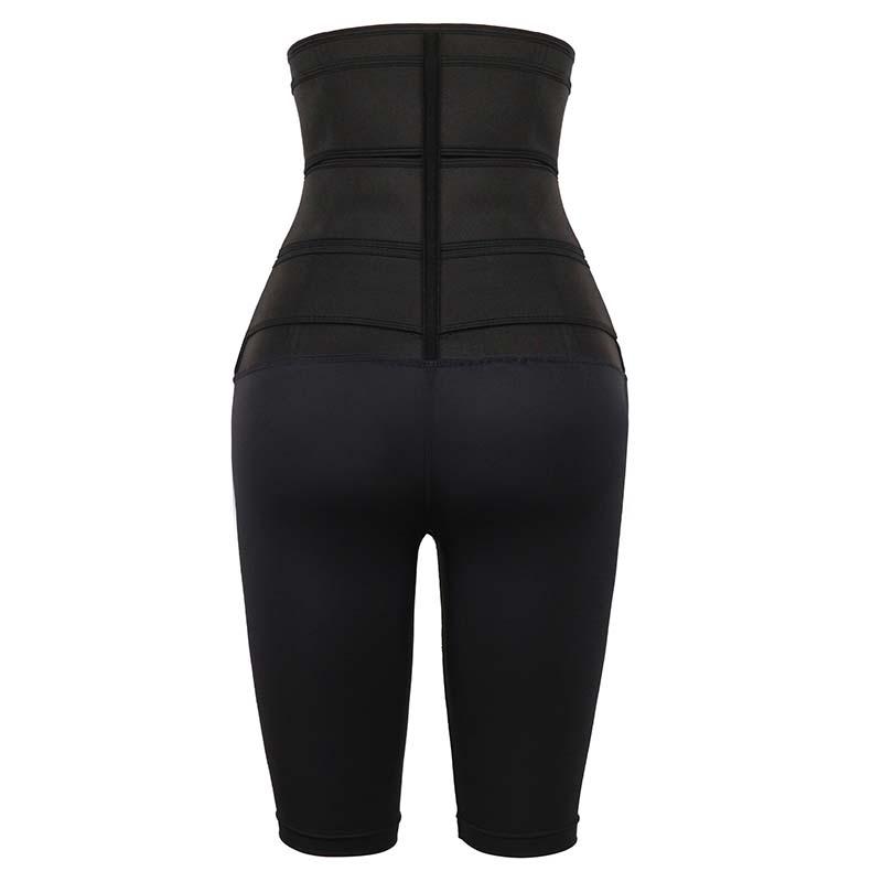 The back of Black Three Belt Neoprene Waist Trainer With Pants