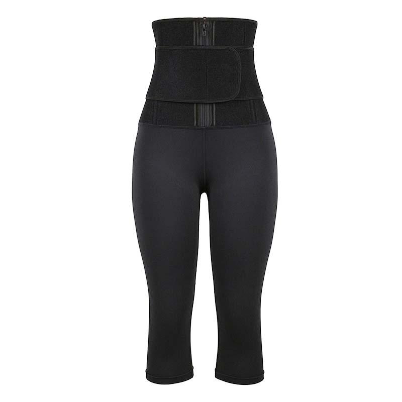 OK Fabric Single-Belt Cropped Body Shaping Pants With Logo