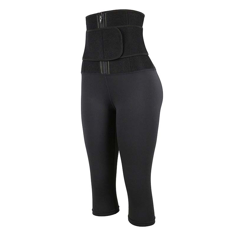 The left of OK Fabric Single-Belt Cropped Body Shaping Pants With Logo