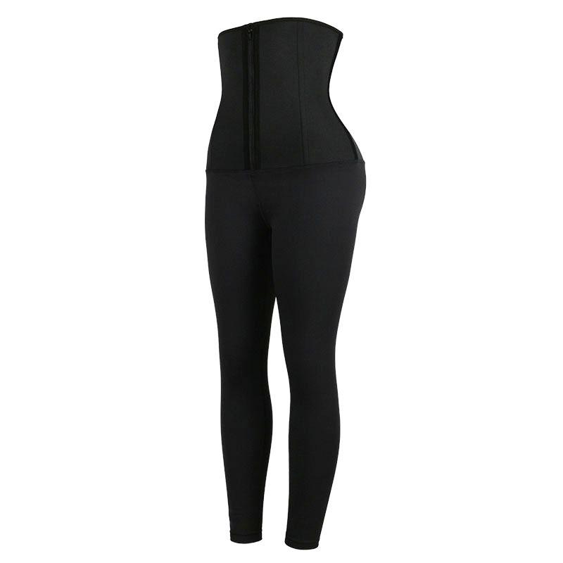 The left of Neoprene Classical Waist Trainer Jumpsuit Pants