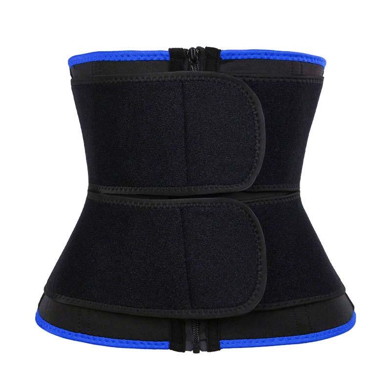 Blue 9-steel Bones Double Belt Waist Trainer