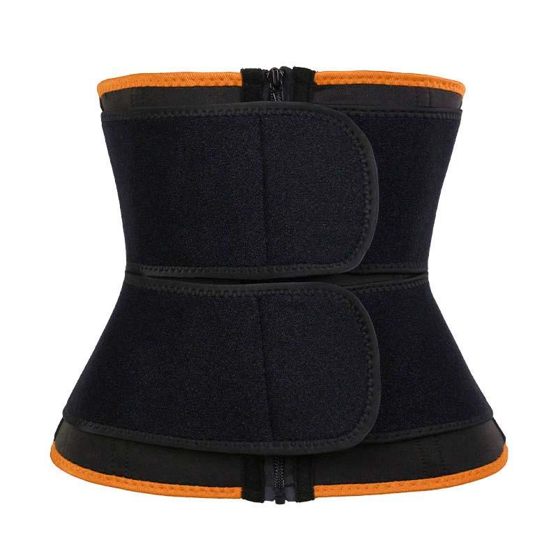 orange 9-steel Bones Double Belt Waist Trainer