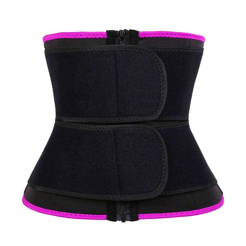 pink 9-steel Bones Double Belt Waist Trainer