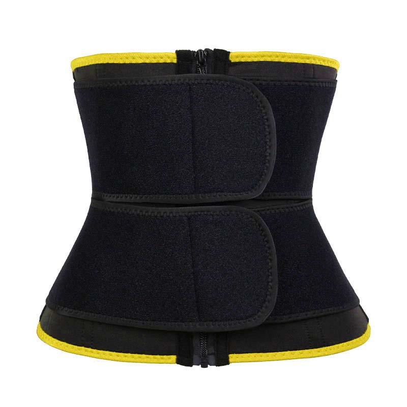 Yellow 9-steel Bones Double Belt Waist Trainer