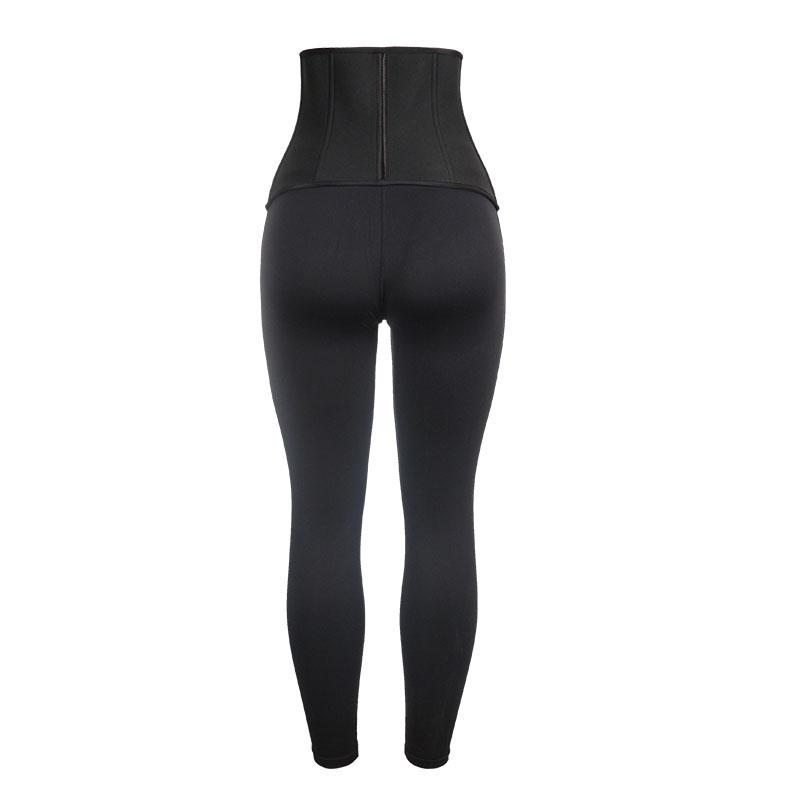 The back of Neoprene Front Long And Back Short Corset + Milk Silk Pants