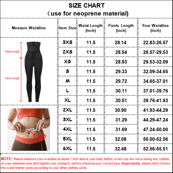 The size chart of Women's Body Shaper Pants