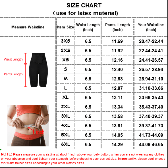 The size chart of Latex Waist Trainer Without Steel Bones