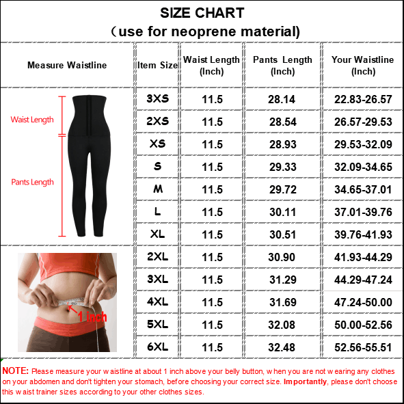 The size chart of Neoprene Classical Waist Trainer Jumpsuit Pants