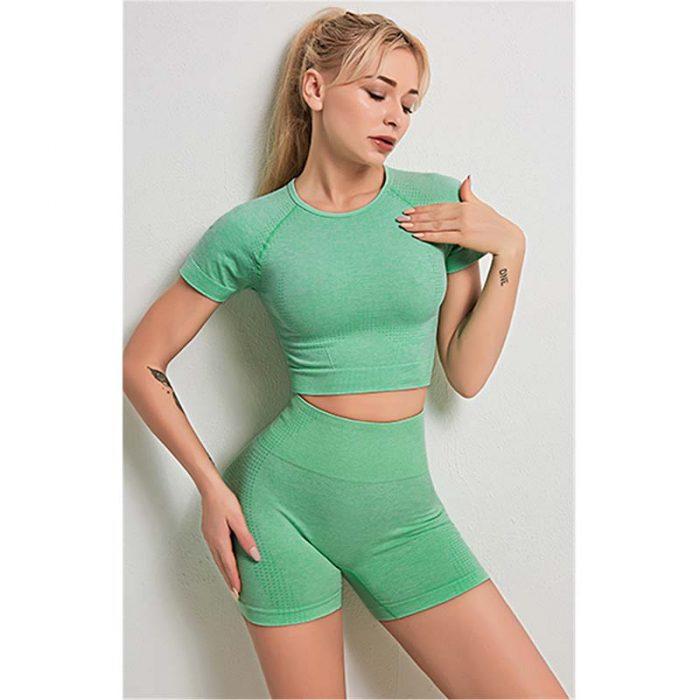 green High Waisted Women Short Sportswear