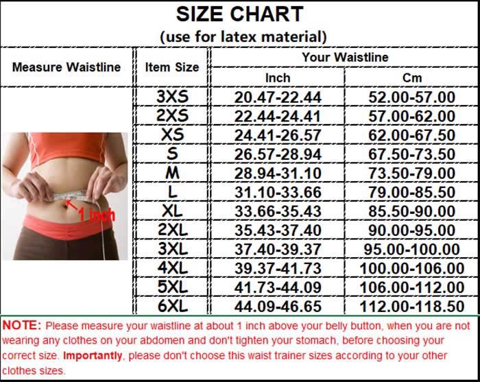Double Strap Waist Trainer Vest size chart