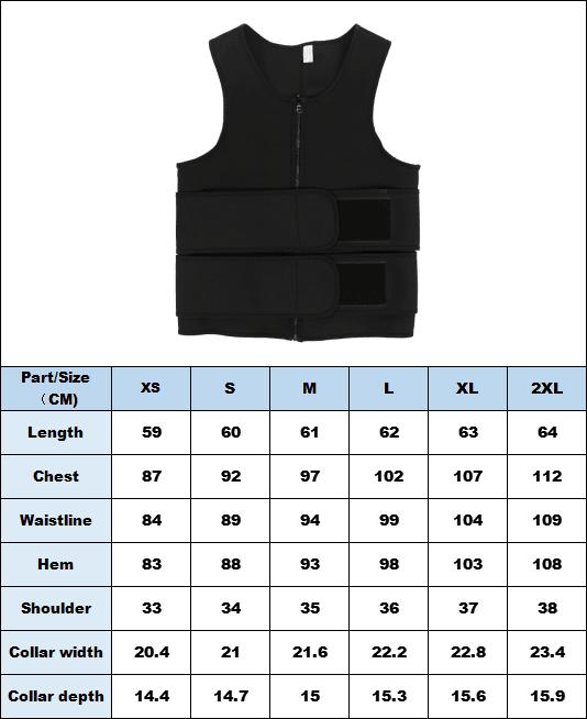Men Waist Trainer Vest size chart